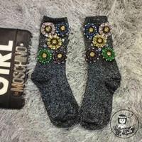 Calcetines Mujer Hot Sale Women Socks 2016 High End Custom Socks Tide Brand Diamond Flower Beaded