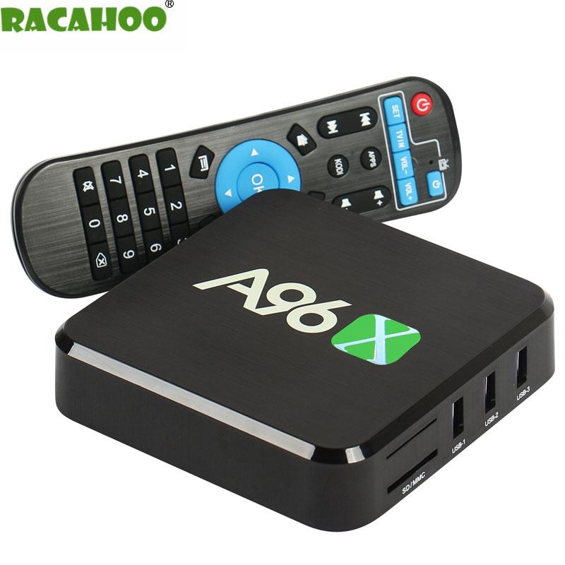 RACAHOO Smart TV Box Android 6.0 Amlogic S905X Quad Core 64Bit 1G 8G WIFI 2.4G HDMI 2.0A TVbox 100M Media HDTV player original magicsee iron andriod 6 0 amlogic s905x 64 bit quad core cpu 2g 16g wifi 4k uhd tv box 2 16g media players tv set