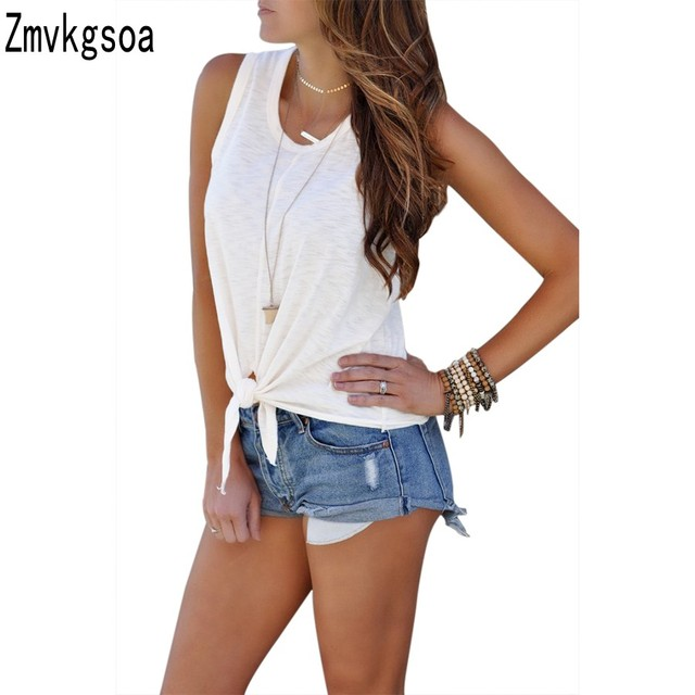 a62709bcb7733d Zmvkgsoa Tie Front Tops Red Black White Sleeveless Tank Top Women Summer T  Shirt Casual Vest Girls Clothing Camisole Q250950