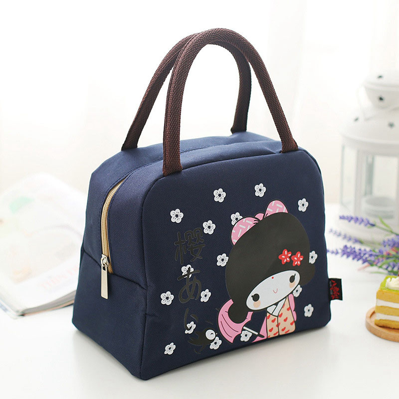 Fashion Portable Insulated canvas lunch Bag Thermal Food Picnic Bags for Women kids Men Cooler Lunch Box Tote