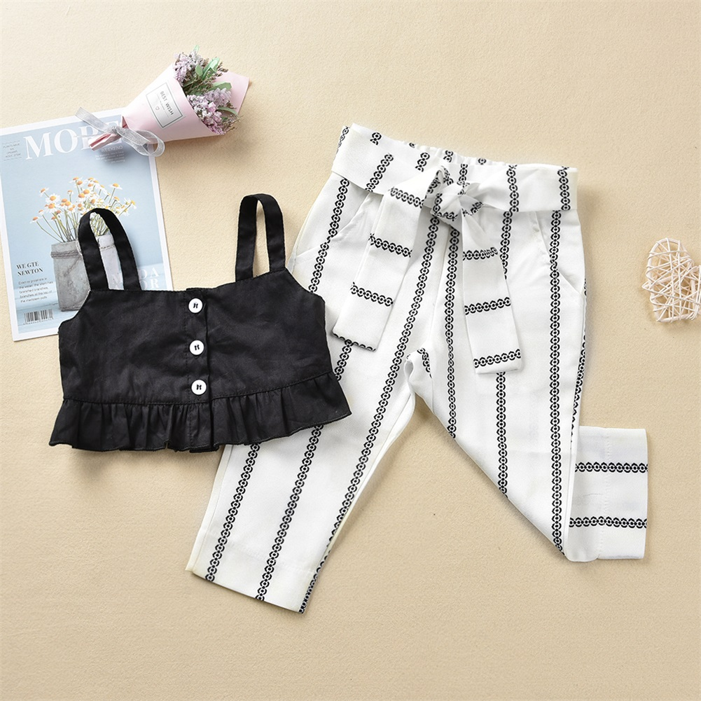 Pudcoco Summer Toddler Baby Girl Clothes Ruffle Crop Sling Tops Striped Long Pants 2Pcs Outfits Casual Summer Clothes