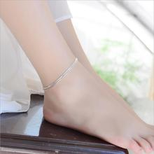 TJP New Fashion 925 Silver Women Anklets Jewelry Top Qaulity 3 Layer Snake Chain Bracelets For Girl Lady Birthday Christmas Gift