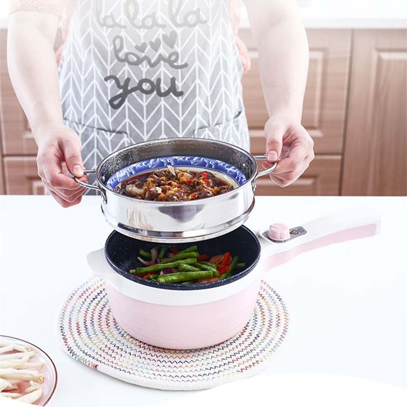 220V Mini Household Electric Automatic Hot Pot Multifunctional Electric Cooking Machine Multi Frying Cooker EU/AU/UK/US