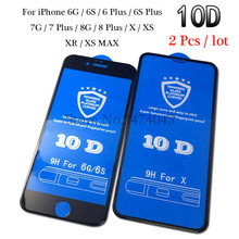 2Pcs/lot 10D Protective tempered glass for iphone 6 6s 7 8 plus XR Glass Film on x xs max screen protector