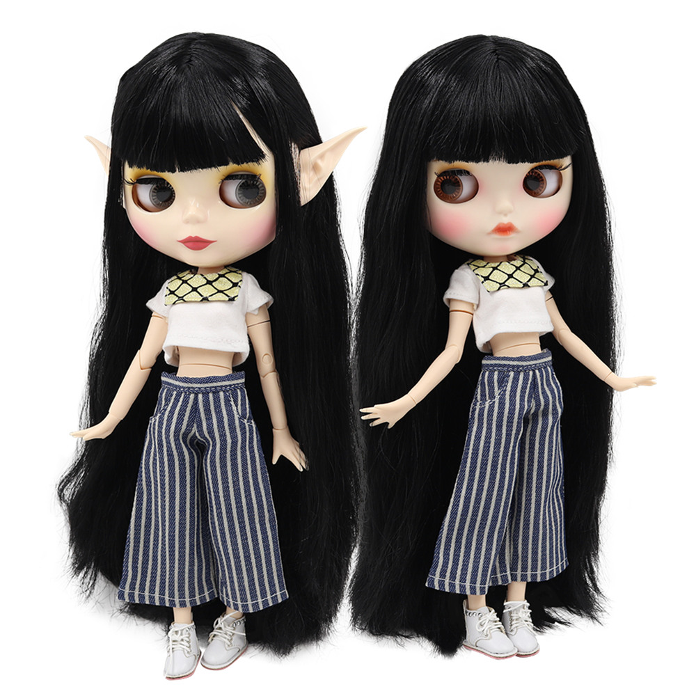 ICY factory blyth doll 1 6 bjd white skin joint body black hair BL117 shiny face