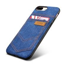 Mode Cowboy Jean En Cuir & Silicone Cas de Couverture Arrière Pour Apple iPhone 7/7 Plus Téléphone Cas Accessoires Avec Externe Titulaire de la Carte