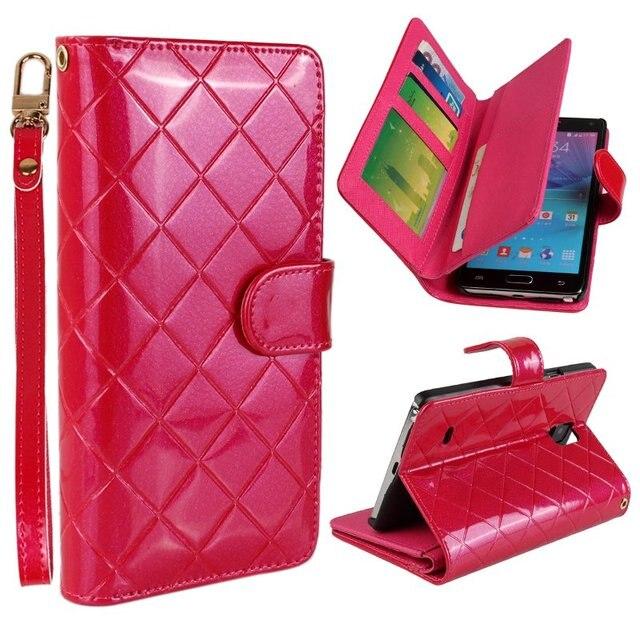 Luxo PU Carteira de Couro Bolsa Flip Book Case Capa Para Samsung Galaxy nota 4 Caso de Telefone IV W/Slots de Cartão Alça de Mão + Filme