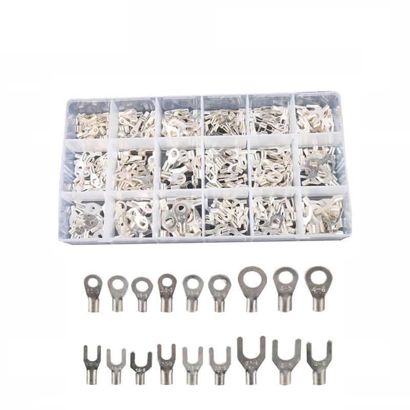 420Pcs/Box 18 type Cold naked terminal Kit Non-Insulated Ring Fork U-type Terminals Assortment Cable Wire Connector Crimp Spade цена