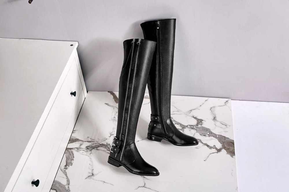 2018 Европейский стиль на молнии с квадратным носком из натуральной кожи на низком квадратном каблуке застежка на звезды кино рыцарь облегающие сапоги L15
