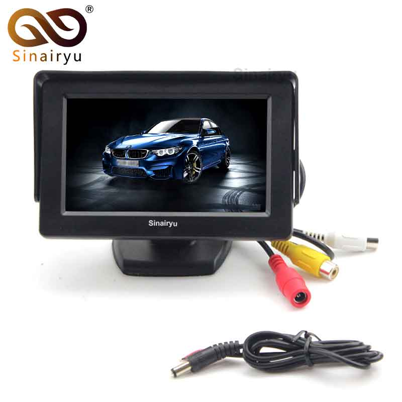 Sinairyu T430 Wholesale 10PCS/Lot 4.3 inch Color LCD Parking Assistance 4.3 Car Monitor with 2 Video Input for Rear View Camera