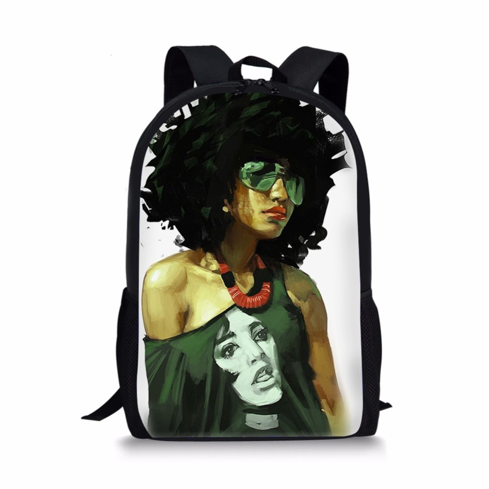FORUDESIGNS African Backpack Cartoon African Black Girls Print School Bag Kids Cute Book Bag Teenager Girls Schoolbags Mochila