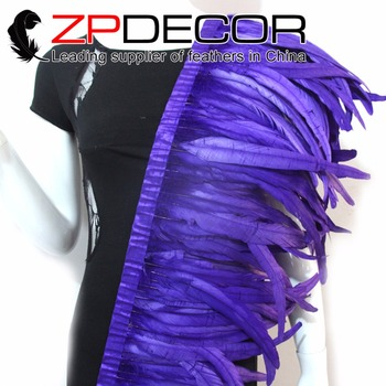 ZPDECOR Wholesale 5yard/ 30-35CM(12-14inch) Dyed Royal Purple Chicken Coque Feather Fringe Trim for Carnival Costume Decoration