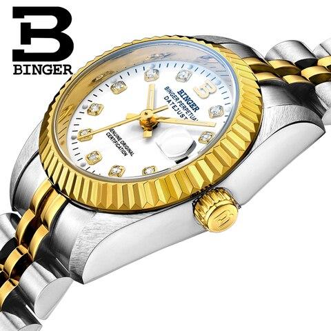 Relógios de Cristal Pulseira de Aço Relógio de Pulso Clássico Suíça Marca Design Feminino Auto-vento Mecânico Completo Relógio Amantes Calendário