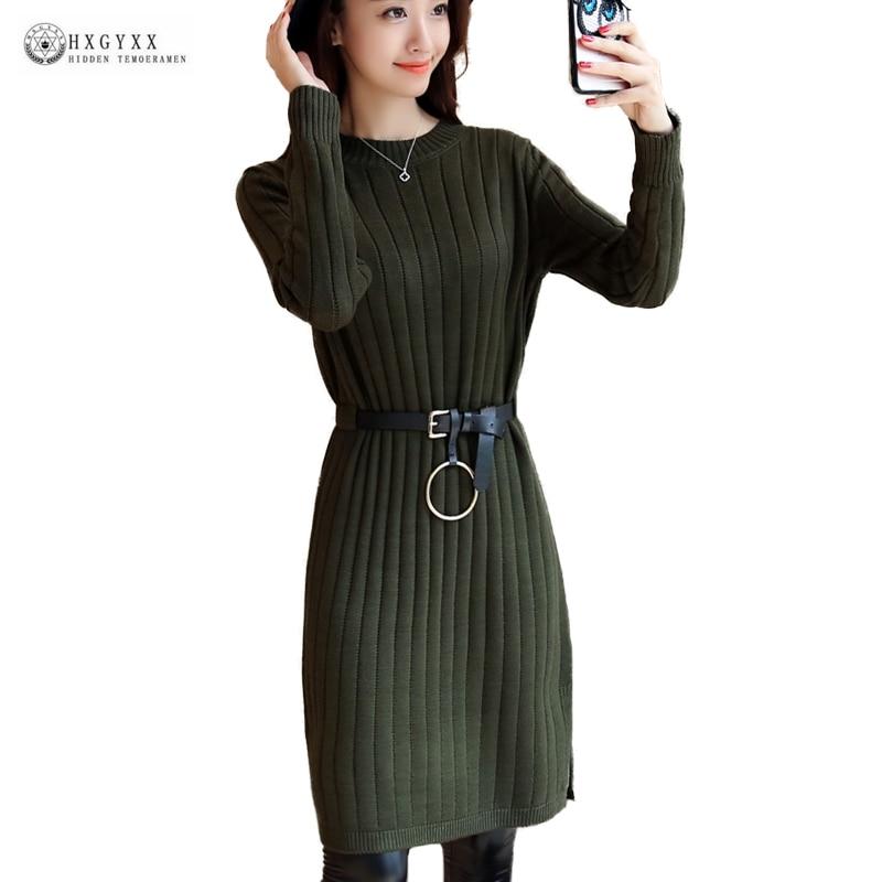 Elegant solid color long sleeve loose knitted dress women o-neck sweater dresses 2018 spring new female knitwear vestidos ok1450