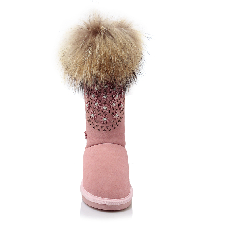 Femme Avec Fourrure 2017 Mi mollet 43 Neige Réel Cuir pink Arden 34 En Laine D'hiver Furtado Nouveau Femmes Chaussures Bottes Mode Noir Black Rose Cowskin De 6qffUT0