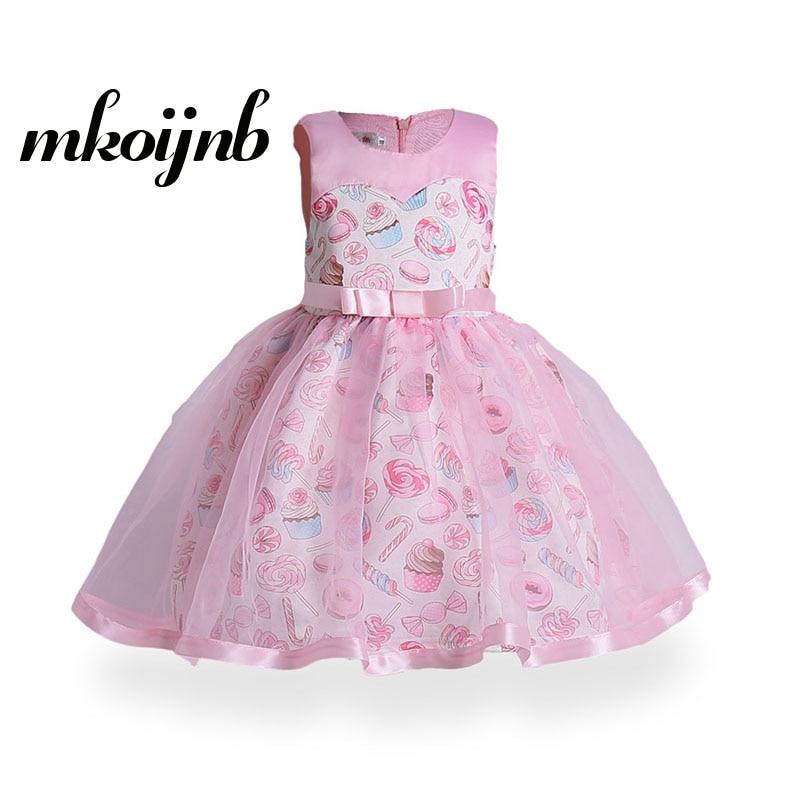 Summer Lovely Sleeveless Girls Floral Princess Dress Kids Cartoon Print Ice Cream Dresses Children Clothes For 3 4 5 6 7 9 Years