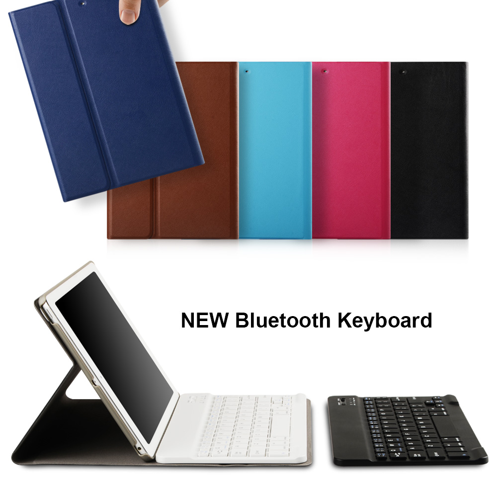 For iPad Keyboard + Leather Case Detachable Wireless Bluetooth Smart Keyboard for Apple iPad Air / iPad Air 2 / New iPad 2017 new detachable official removable original metal keyboard station stand case cover for samsung ativ smart pc 700t 700t1c xe700t