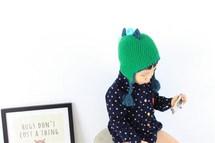 Warm Knitted Cotton Dinosaur Toddler Hat