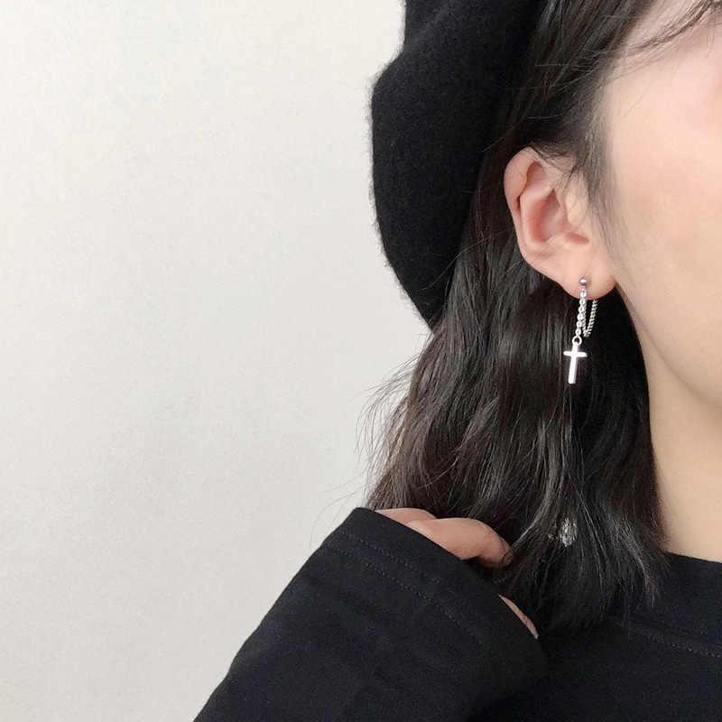 Silber Kreuz Ohrringe 925 Einfache Stil Kreuz Baumeln Lange Ohrringe Für Frauen Mode Schmuck