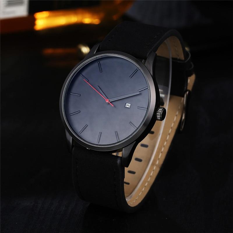 Popular Low-key Minimalist Connotation Leather Men's Quartz Wristwatch Watch Men 2017 Luxury Brand Famous Relogio Masculino