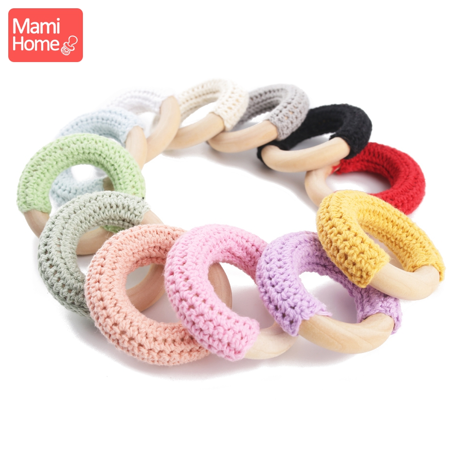 3pc 50mm Wooden Ring Crochet Baby Teether Colorful Teething DIY Rattle Wood Circles Baby Bites Rings Nurse Gift Children'S Goods