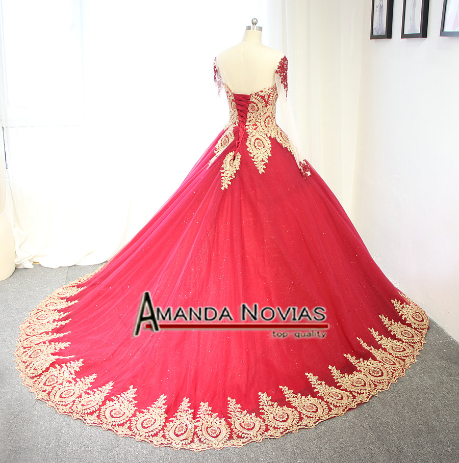 Image 5 - 2019 Luxury Wine Red With Golden Lace Wedding Dress Ball Gown With Sleeveswine redwith sleeveswedding dress with lace -
