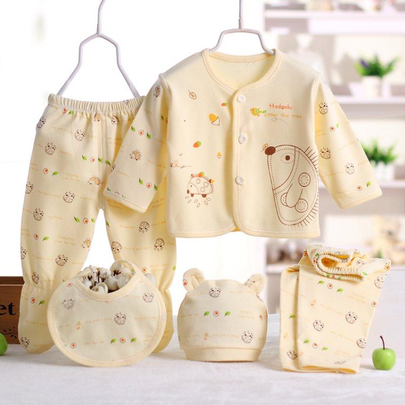 100% Cotton Cartoon Underwear Newborn Baby 0-3M Clothing Set Brand Baby Boy Girl Clothes 5pcs/set