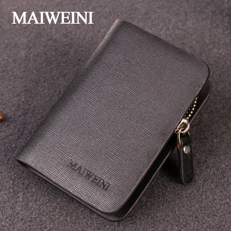 MAIWEINI Fashion Gentlemen Multifunctional Key Bag Holder First Layer Cowhide Zipper Car Key Case With Card Holder/Coin Bag