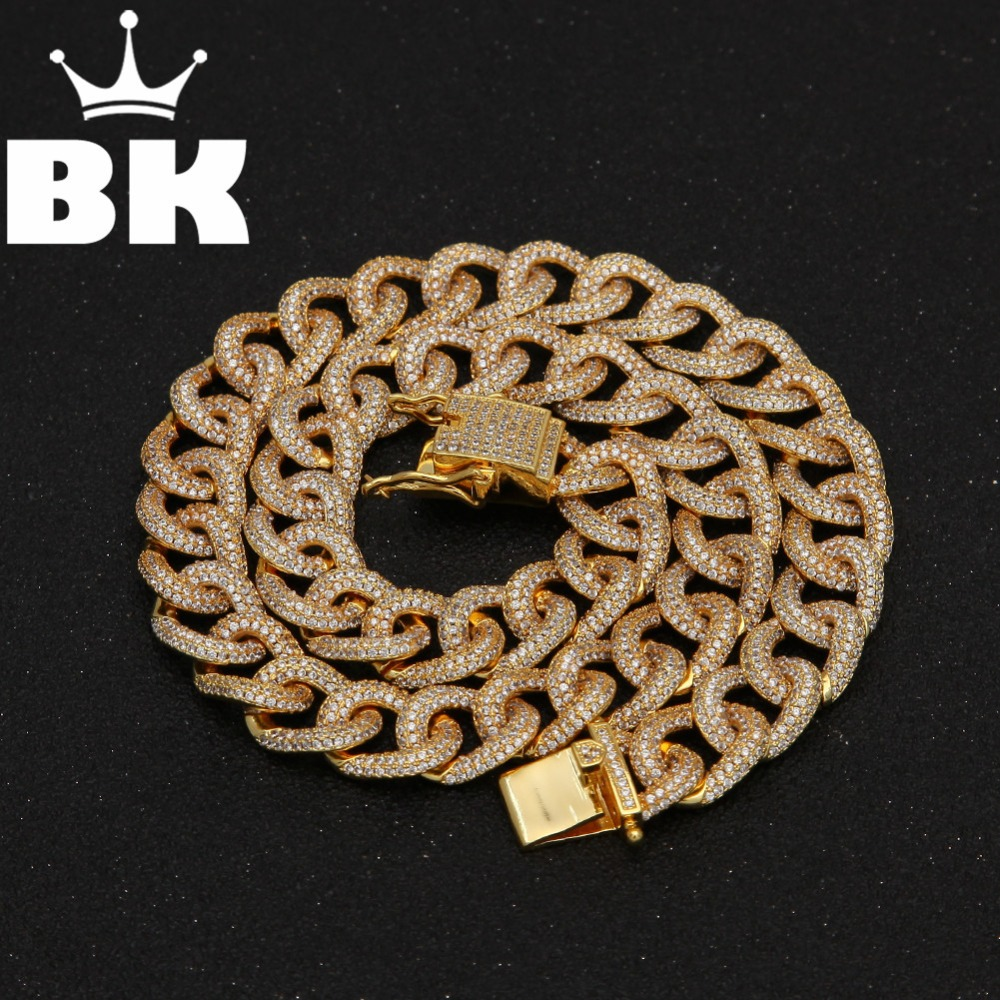 THE BLING KING 13mm CZ Cuban Chains Gold Prong Miami Cuban Chocker Big Lock Cubic Zircon Necklace 18inch 20inch 22inch Chain the cuban economy