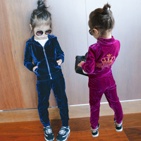 2018 Spring Fall Girls Fashion Velvet Clothing Set Children's Clothes Hooded Jacket + Pants 2 Pcs 2 13 Yrs Kids Sport Suit A550