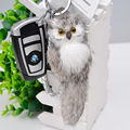 New  Plush Genuine Rabbit Fur Owl  Keychain  Leather Car Keyring