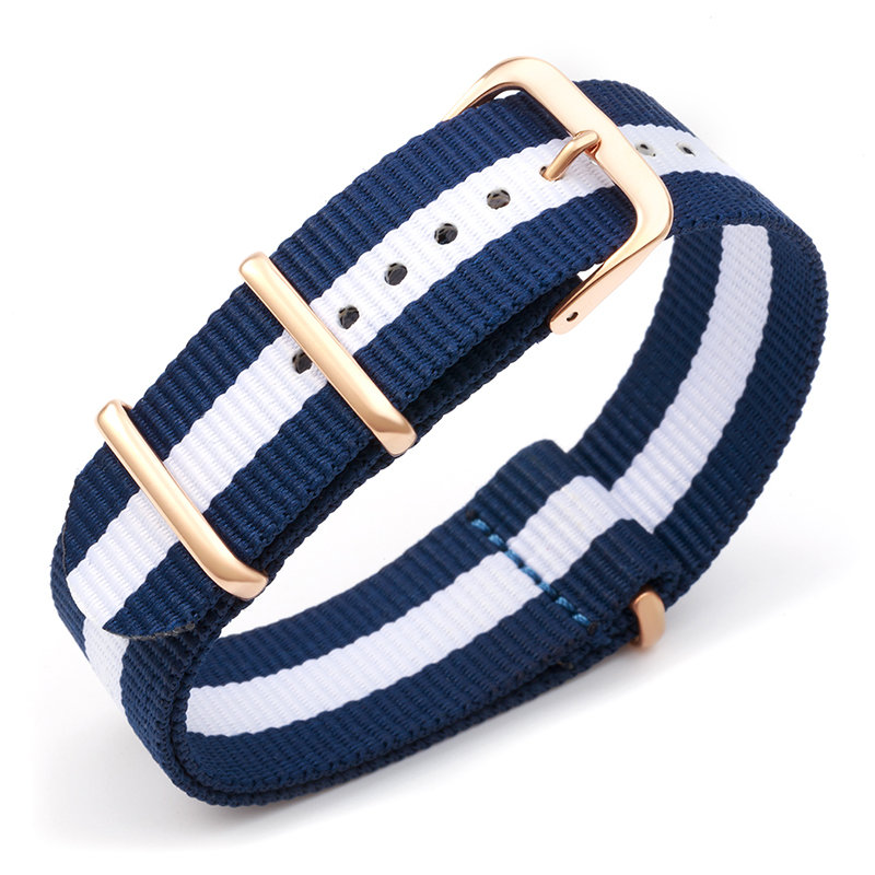 navy blue white blue nylon fabrics watchband nato sports military watch band strap accessories 20mm 18mm rose gold silver buckle