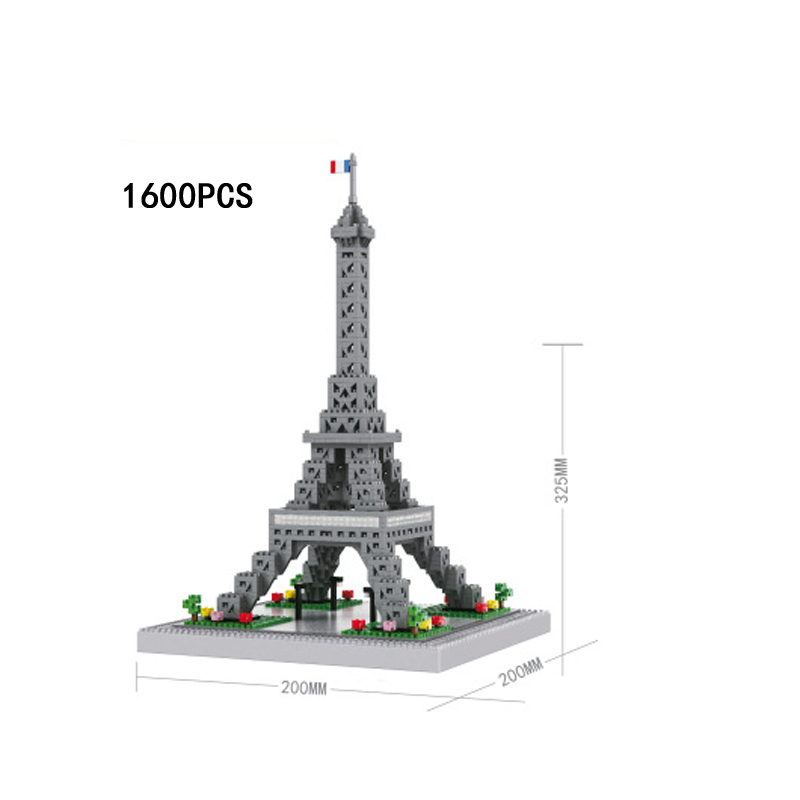 Architecture nanoblock Eiffel Tower Paris France micro diamond building block World famous Landscapes assemable bricks toys цена