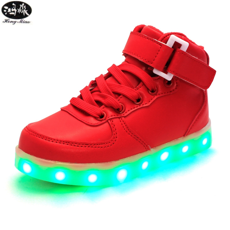 New Children Led Shoes Glowing Sneakers 7 Colors USB Light Up Luminous Sole Girls Boys Sneakers High Top Kids Casual Shoes joyyou brand usb children boys girls glowing luminous sneakers teenage baby kids shoes with light up led wing school footwear