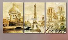 Free shipping! Hand-painted modern art home decorative cityscape oil painting on canvas The Eiffel Tower in Paris 3pcs/set