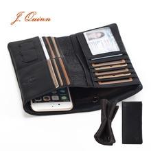 J. Quinn Dollar Portfolio Mann Super Weich Echtes Leder Männer Brieftaschen Mini Sd Sim Karten Geld Marke Lange Geldbörse Reißverschluss Tasche telefon