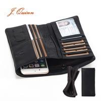 J.Quinn Dollar Portfolio Man Super Soft Genuine Leather Men Wallets Mini Sd Sim Cards Money Brand Long Purse Zipper Pocket Phone