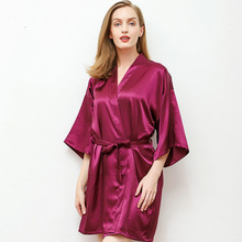 Daeyard Silk Satin Robe For Women Sexy Solid Short Kimono Boudoir Bride Bridesmaid Dressing Gown Bathrobe Nightie Homewear