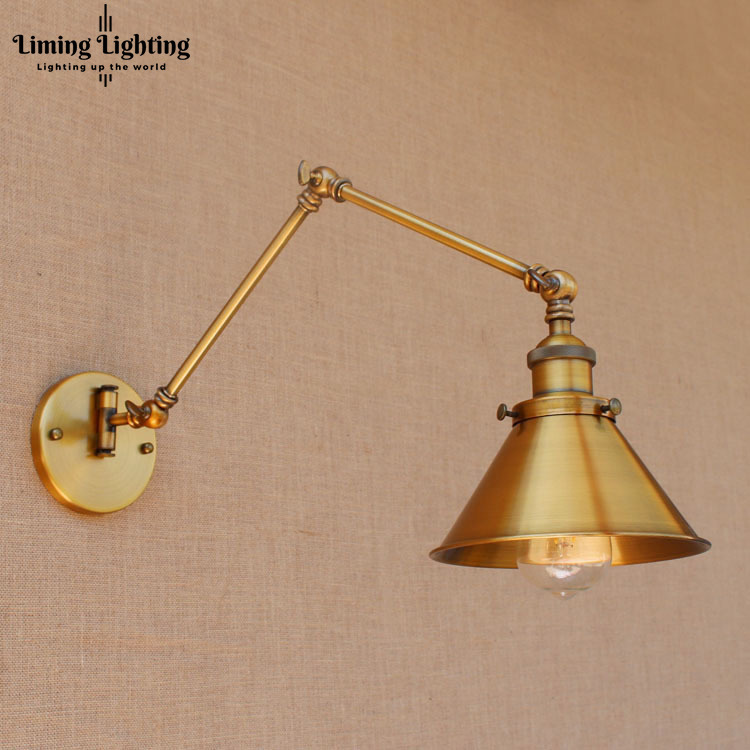 RH Rustic Brass Loft Style Industrial Wall Lamp Vintage Adjustable Long Swing Arm Light Fixtures Wall Sconces Arandela Lighting