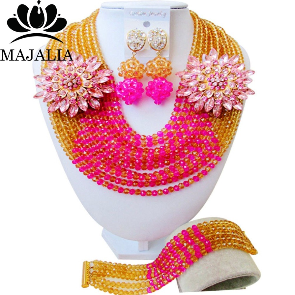 Fashion african jewelry set Gold Champagne nigerian wedding african beads jewelry set Crystal Free shipping Majalia-401Fashion african jewelry set Gold Champagne nigerian wedding african beads jewelry set Crystal Free shipping Majalia-401