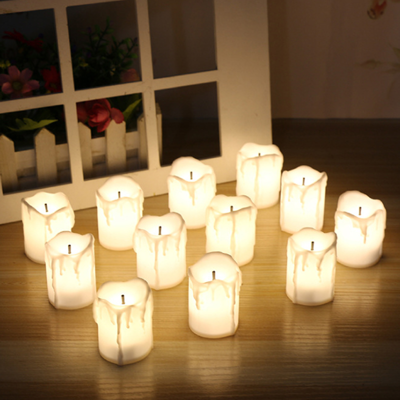 12 Pcs/lot LED Electric Battery Powered Tealight Candles Warm White Flameless Tea Candles Holiday Party Wedding Home Decoration