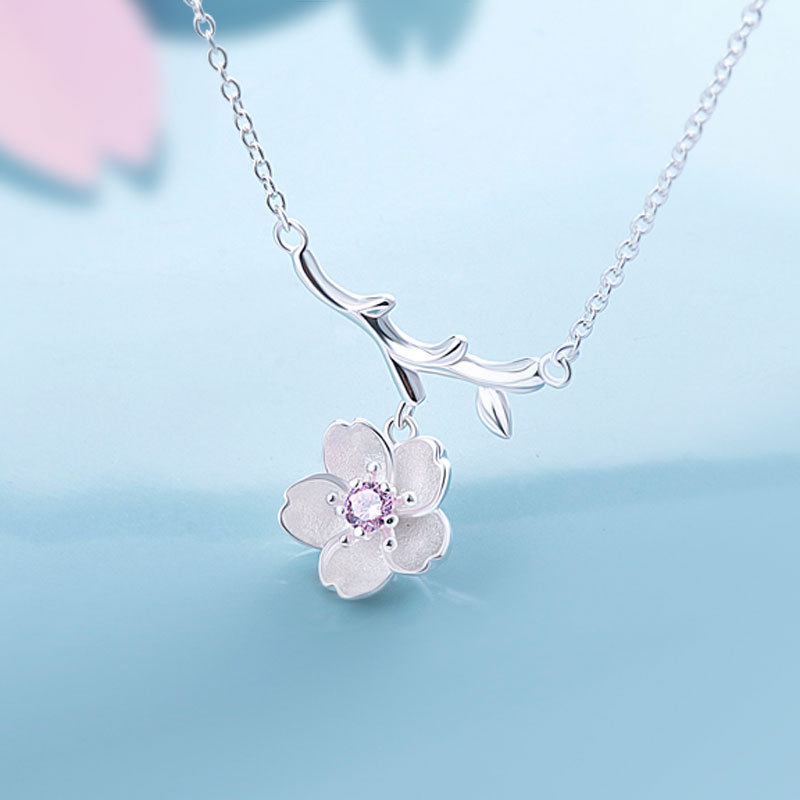 925 Sterling Silver Sakura Flower Necklacess
