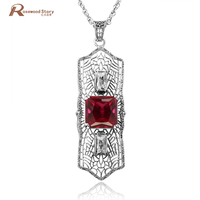 100% Real Silver 925 Pendant Necklace Red CZ Stone Sterling Sliver Jewelry Romantic Fine Jewelry Necklaces & Pendants For Women