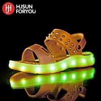 2016 Summer Children Beach Sandals Fashion Shoes For Girls USB Charging Luminous Shoes Boys Footwear Kids