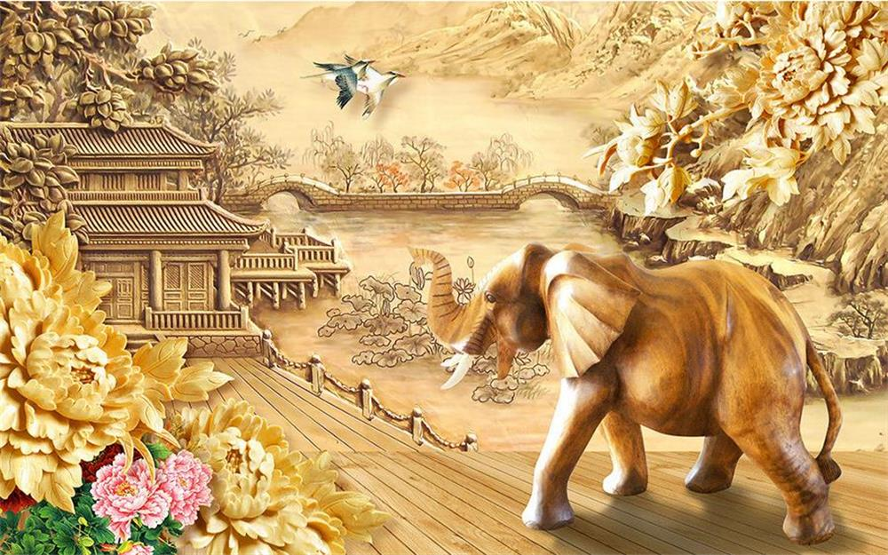 Painting Supplies & Wall Treatments Wallpapers 3d Wallpaper/custom Photo Wall Paper/wood Carving Flower Elephants/tv/sofa/bedding/ktv/hotel/living Roomchildren/ Good For Antipyretic And Throat Soother