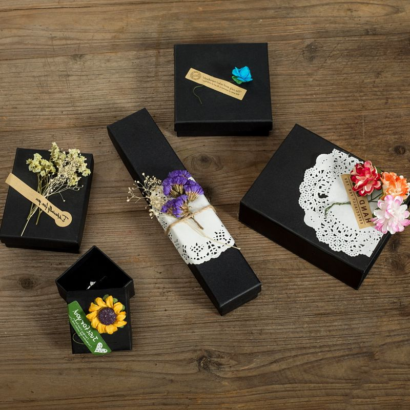 Black Paper Jewelry Boxes 5x5x3cm DIY Ring Gift Boxes High Quality Earring Packing Box Paper Packaging Jewelry Display 12Pcs
