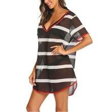 Plus Size Women Beach Dress Bikini Cover Up Kaftan Holiday Short Sleeve Tops Women Summer Striped Dress Cover-up Beach Wear недорого