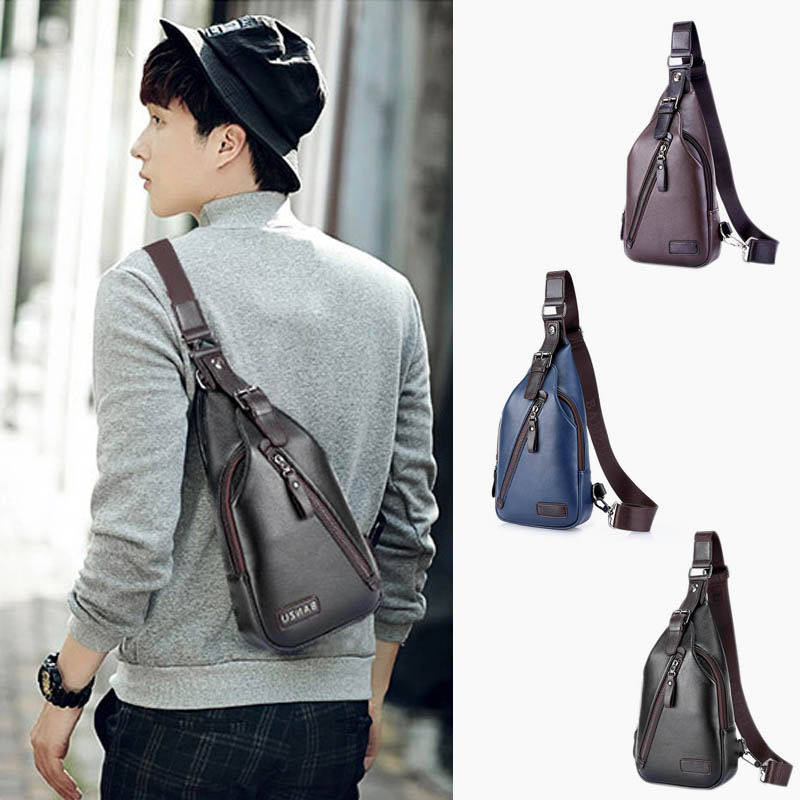 New Men PU Leather Sling Chest Bag Travel Cross Body Messenger Shoulder Pack LBY88
