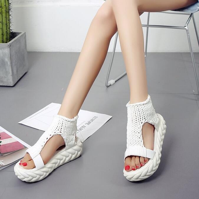 YEELOCA Wedges Platform Sandals Ladies Shoes Summer Student New Knit Mujer Soft-Bottom