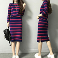 2016 autumn fashion stripes sweater suit with skirt 2 piece set knitted suit pullover crop top and skirt set dress tracksuit